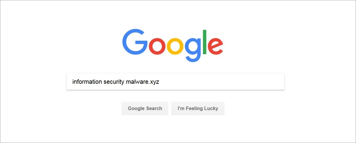 Example of searching for information security using Google