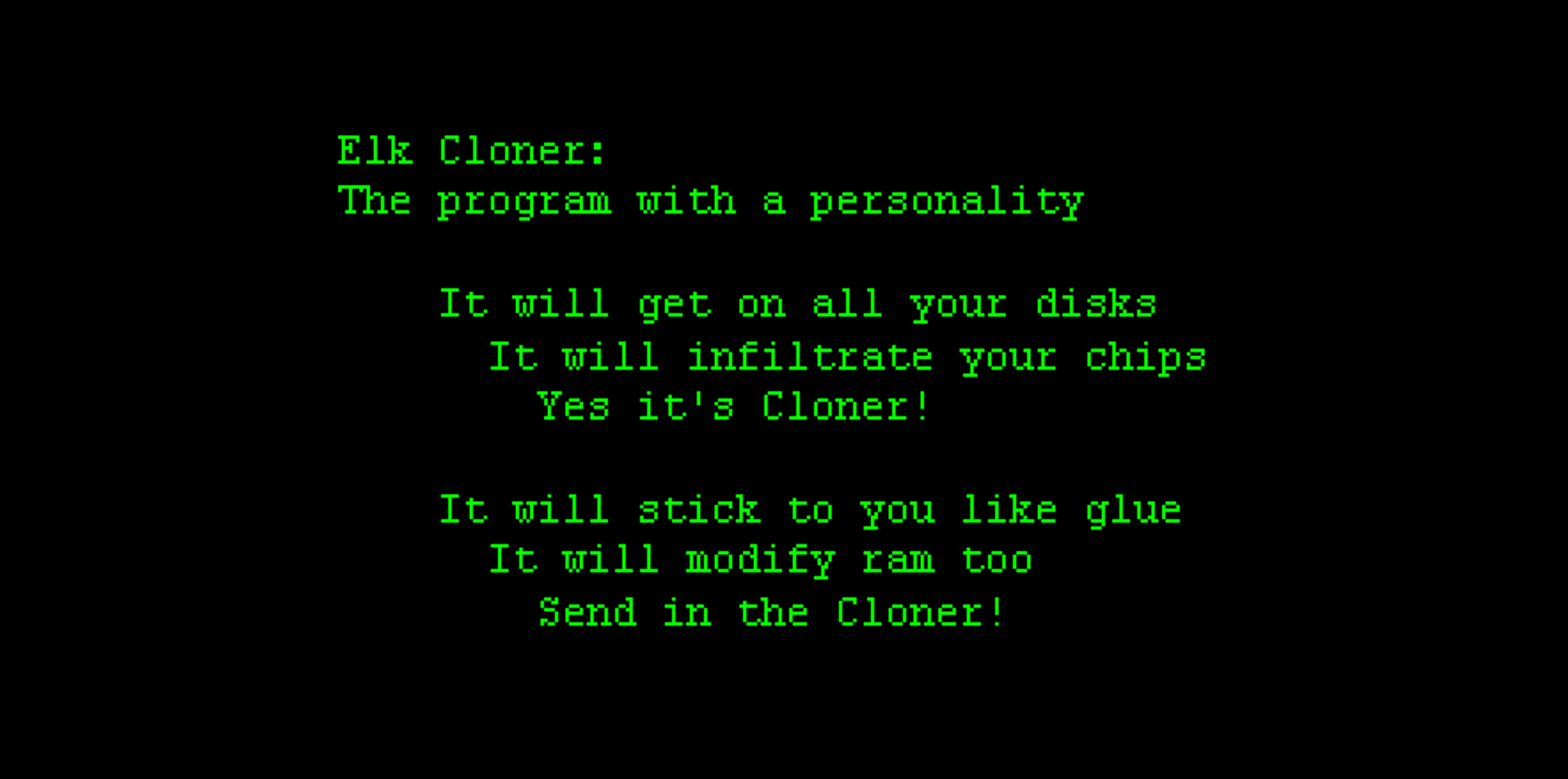 Example of Elk Cloner Computer Virus